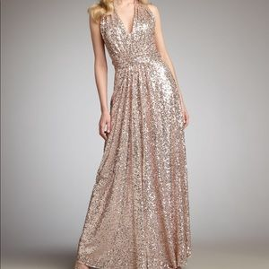 Badgley Mischka sequin halter rose gold dress
